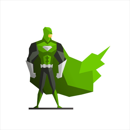 suite: Male Superhero In Green Suite Vector Illustration