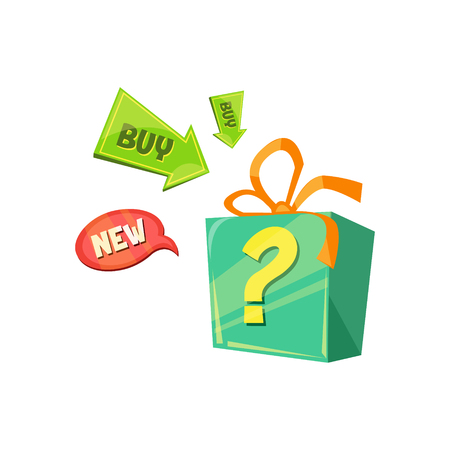 New Product Offer, box with a surprise. Flat Vector Illustration