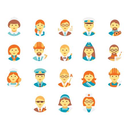 diferentes profesiones: Caras de personas de diferentes profesiones.