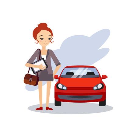 Parking au travail. Activités routine quotidienne de la femme.