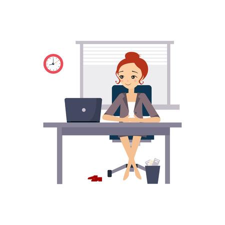 Mujer en la oficina. Actividades rutina diaria de las mujeres. Ilustración de vector