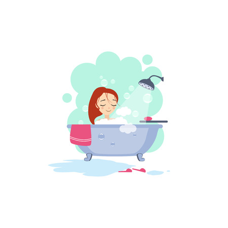 woman in bath: Bathing. Daily Routine Activities of Women. Illustration