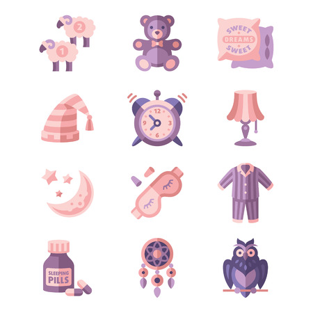 sleeping pills: Sleep Related Icons Set flat style Illustration