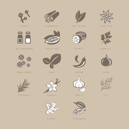 Especias Set, tonos Colección de ilustraciones en colores pastel de color beige