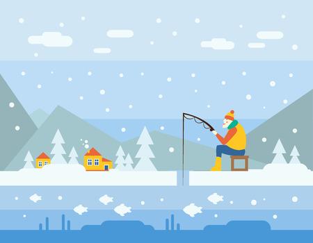Winter Fishing. Cartoon Illustration Flat style