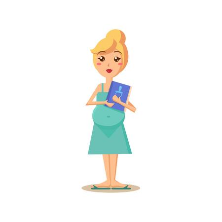 Zwangere vrouw die een boek. Flat Vector Illustration