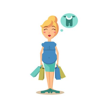 Zwangere vrouw met boodschappentassen. Flat Vector Illustration