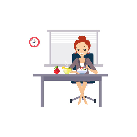 office break: Eating at Work. Daily Routine Activities of Women. Colourful Vector Illustration