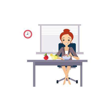 Mangiare sul luogo di lavoro. Giornaliere attività di routine delle donne. Illustrazione vettoriale Colourful