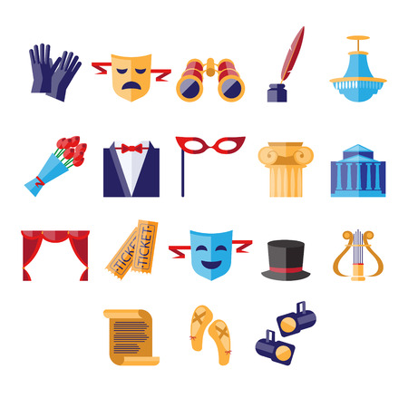 roll curtains: Theater Icons Vector Illustration Set flat style