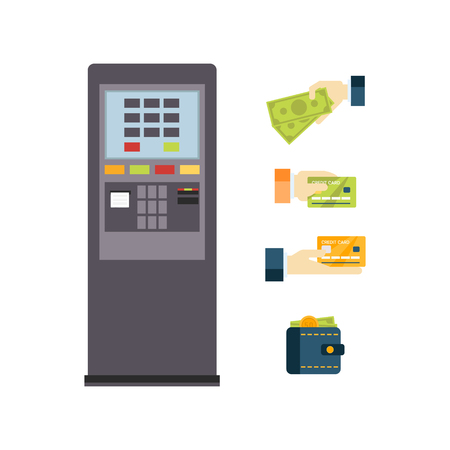 bankomat: ATM Vector icon set Flat Illustration Collection