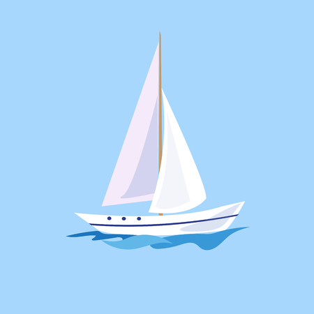 Yacht on the Water. Flat Vector Illustration