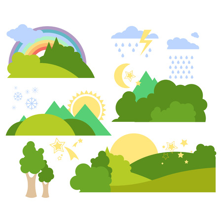 Summer Forest Flat Background Vector Illustration Set Çizim