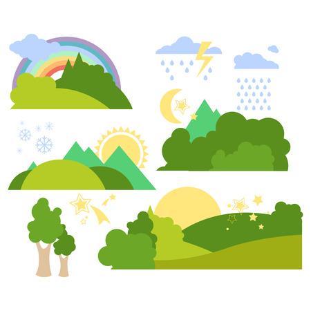 Zomer bos vlakke achtergrond vector illustratie set