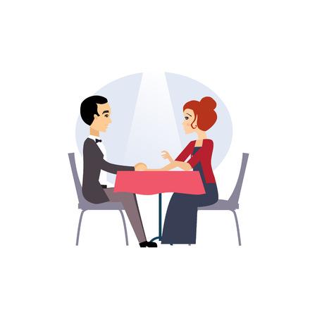 Fecha en un restaurante. Actividades rutina diaria de las mujeres. Colorida ilustración vectorial