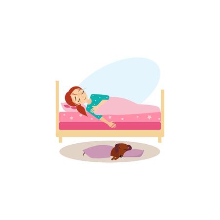 Dormido. Actividades rutina diaria de las mujeres. Colorida ilustración vectorial