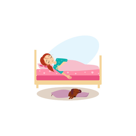 woman lying in bed: Sleeping. Daily Routine Activities of Women. Colourful Vector Illustration Illustration