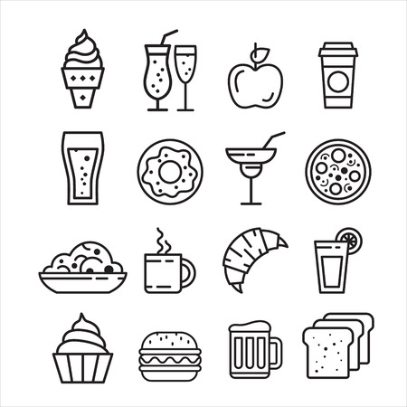 Fast junk food iconen set van geïsoleerde sandwich hot dog pizza hamburger vector illustratie
