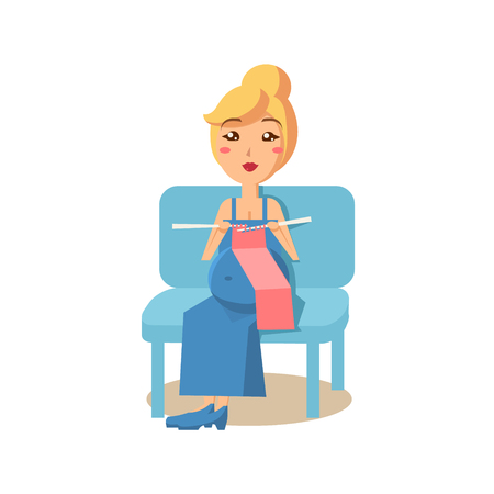 Zwangere Vrouw Breien, stadia van de zwangerschap. Flat Vector Illustration