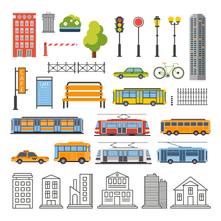 intercity: Transportation and City Traffic Infographics Elements. Vector Illustartion Set