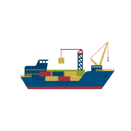 transportation facilities: Tanker Cargo Ship with Containers. Flat Vector Illustration Illustration