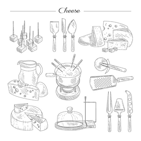 appetizers: Cheese and Cutting Tools. Sketch Vector Illustration Collection.
