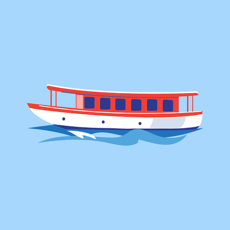 navy pier: Excursion Ship on the Water. Flat Vector Illustration