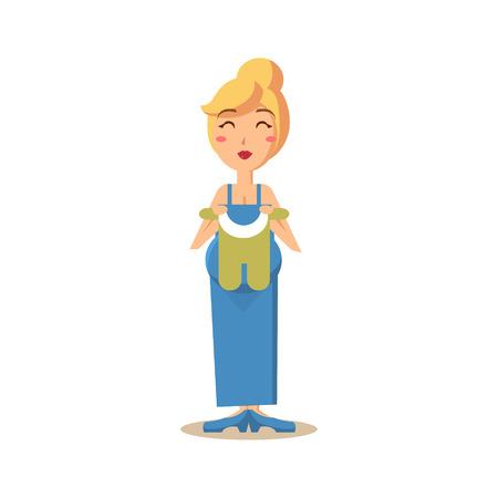 Gelukkige zwangere vrouw met kind kleding, stadia van de zwangerschap. Platte vectorillustratie Stock Illustratie
