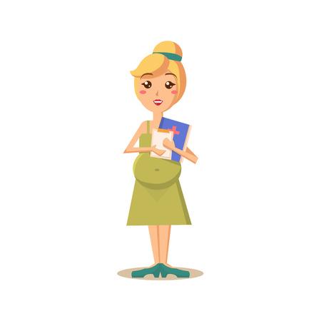 Zwangere vrouw met Arts papierwerk. Flat Vector Illustration Stock Illustratie