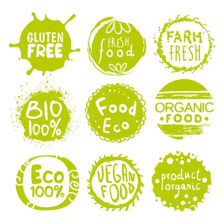 etiqueta: Las etiquetas verdes Eco Alimentos. Colección de ilustraciones de vectores