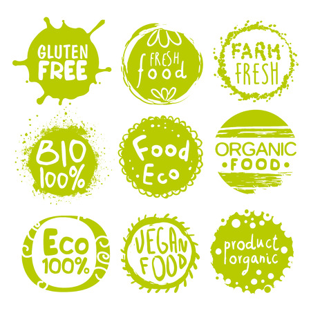 Green Eco Food Labels. Vector Illustration Collection