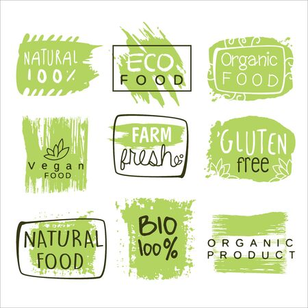 bio food: Bio Food Green Lables. Vector Illustration Collection