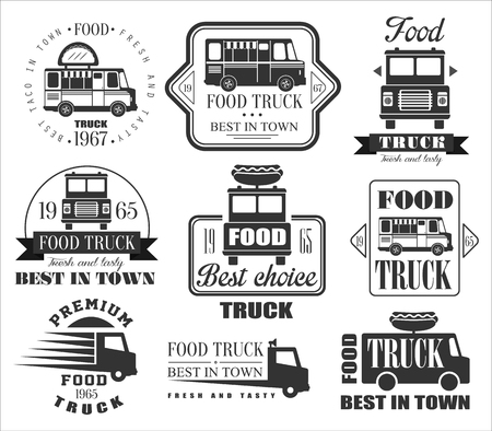 Food Truck Emblemen, Pictogrammen en Badges. Vector Illustration Set Stock Illustratie