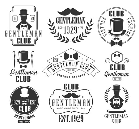 Vintage Gentlemen Club Emblems, Icons and Badges. Vector Illustration Set Ilustração