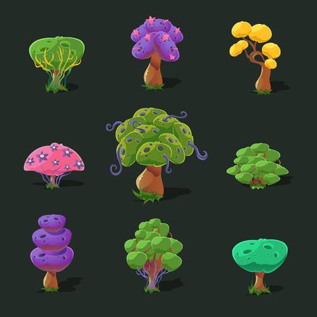 baobab: Cartoon trees for game, vector set vector illustration