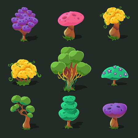 cartoon trees: Cartoon trees for game, vector set vector illustration