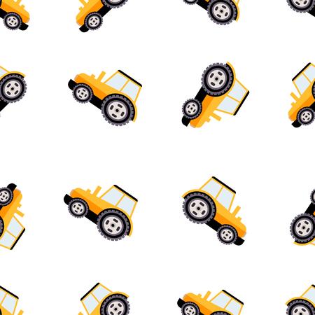 agrimotor: Work Trucks Seamless Pattern. Cute Vector Illustration