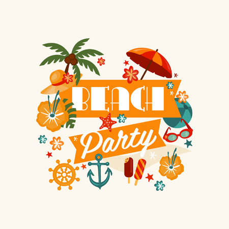 beach sea: Brach Party Banner with Lettering. Vector Illustration