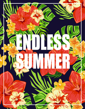 retro floral: Tropical Background with Endless Summer Lettering. vector Illustration Illustration