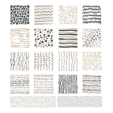 Handdrawn Doodle Textures, Black and White Vector Illustration Set