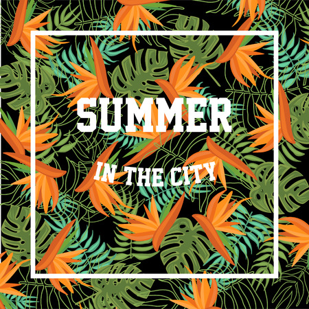 break in: Tropical Background with Summer in the City Lettering. vector Illustration