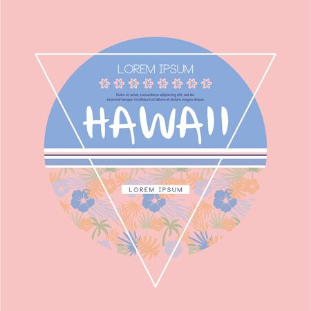 sarong: Hawaii Logo with Lettering, print on t-shirt. vector Illustration