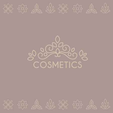catchword: Beauty Industry Lettering and Curls. Vector Illustration label