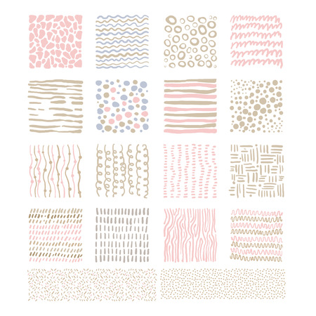 linens: Handdrawn Doodle Textures, pink and beige linens shadesVector Illustration Set