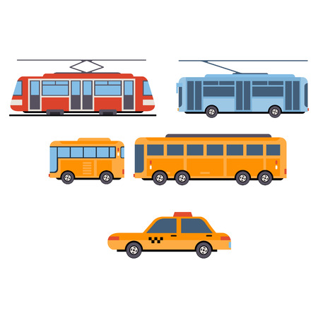 covered: City Transport. Vector Illustration icon Set flat style