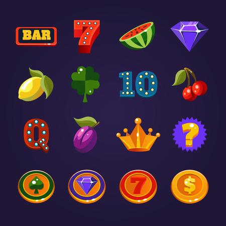 Various slot machine icons vector illustration set