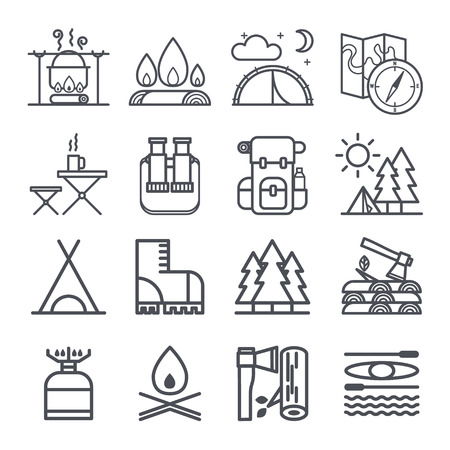 boy scouts tent: Set of camping equipment symbols and icons Illustration