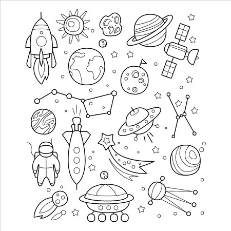 handdrawn: Space Objects in Handdrawn Style. Vector Illustration Set