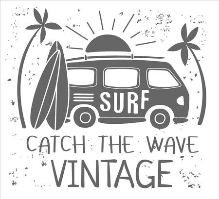 Vintage Summer Surf Print with a Mini Van, Palm Trees and Lettering. Vector Illustartion Illustration