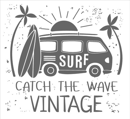 Vintage Summer Surf Print with a Mini Van, Palm Trees and Lettering. Vector Illustartion Фото со стока - 51240528
